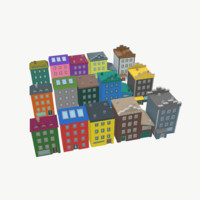 low-poly cartoon houses model