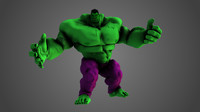 marvel hulk cartoonized 3D model