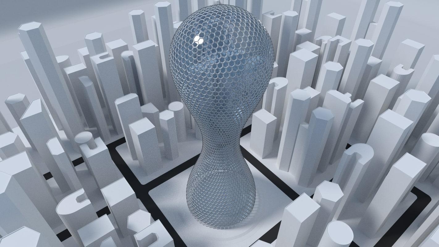 3D model hexagon skyscraper buildings