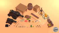 pirate pack props 3D