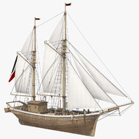 galeas ship sea 3D model