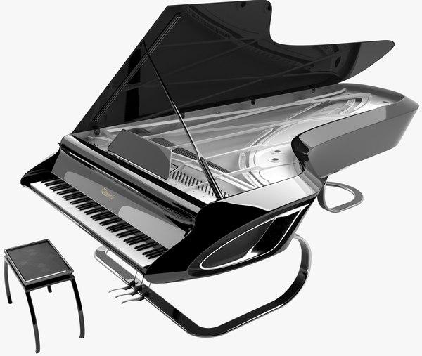 piano designed 3D model