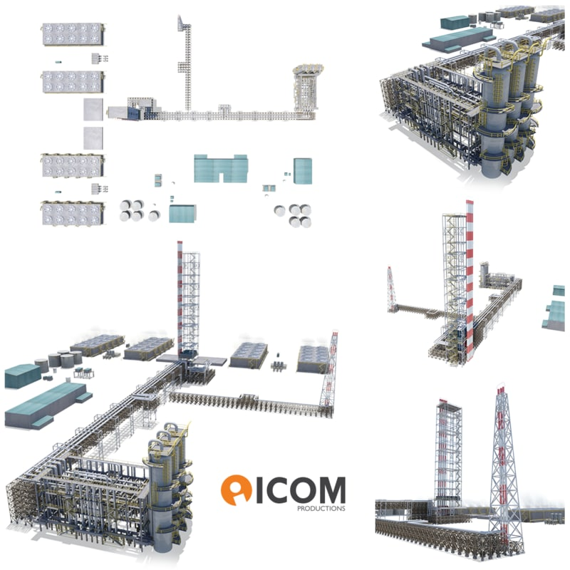 3D industrial natural gas plant