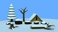 Low poly snow forrest