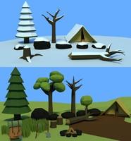 assets forrest tree snow 3D model
