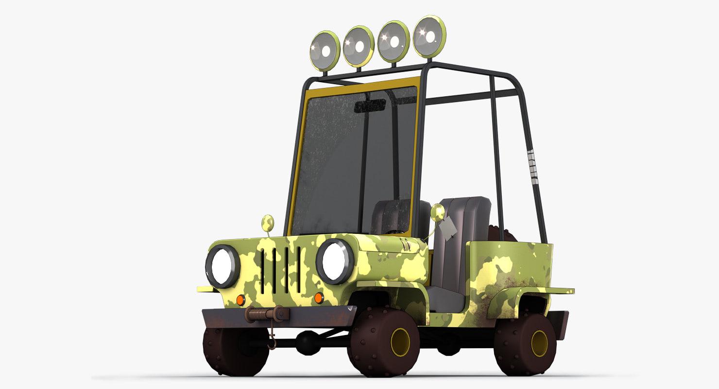 cartoon military car 3D model