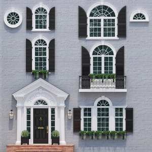 3D model doors windows style modern