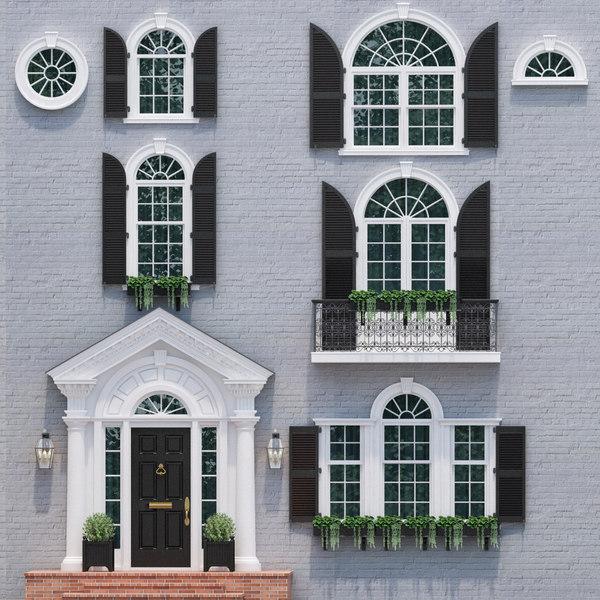 3D model doors windows style modern