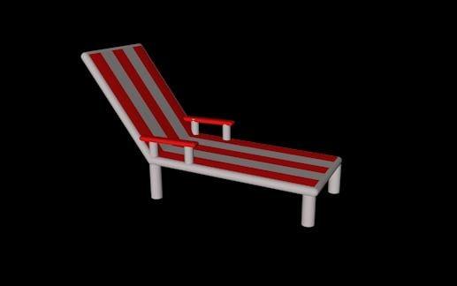 red white sun lounger 3D model