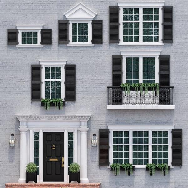 doors windows style modern 3D model