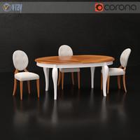 3D model villanova riva chair table