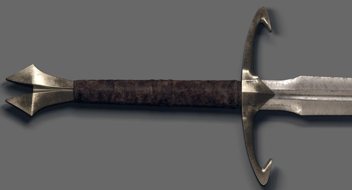 3D handed sword blade model