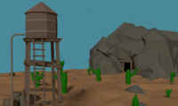 LowPoly Western Mine with Water tower