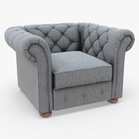 Knightsbridge Linen Tufted Scroll Arm Chesterfield Chair