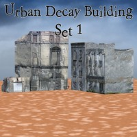3D decayed buildings poser urban model