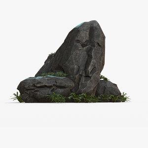 3D black rock model