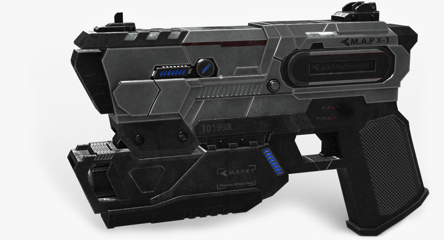 3D model sci fi pistol m