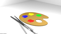 3D color draw palette model
