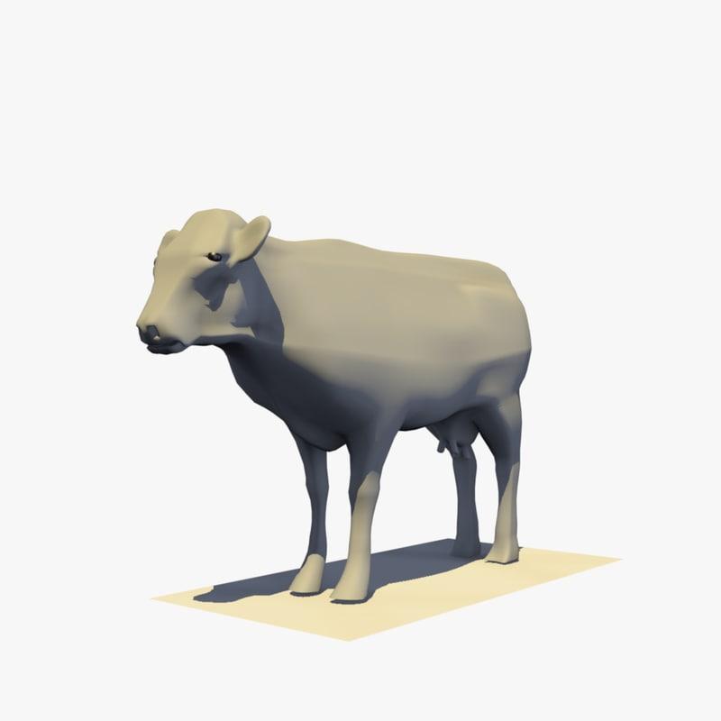3D model realistic base mesh cow