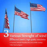 3D flags 3 strenght wind