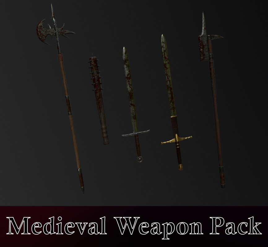 medieval weapons pack halberd model
