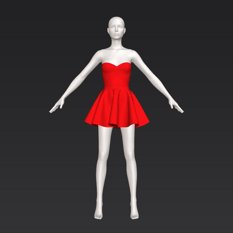 3D cute short red dress