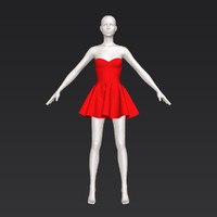 3D cute short red dress