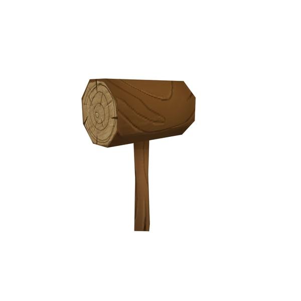 cartoon wood hammer model