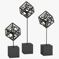 3D model tilted cube sculptures dwellstudio