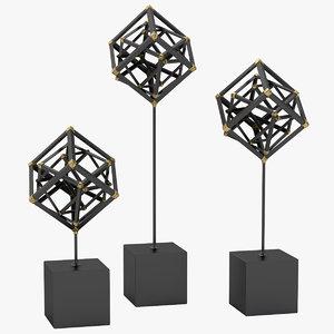 3D model tilted cube sculptures dwellstudio