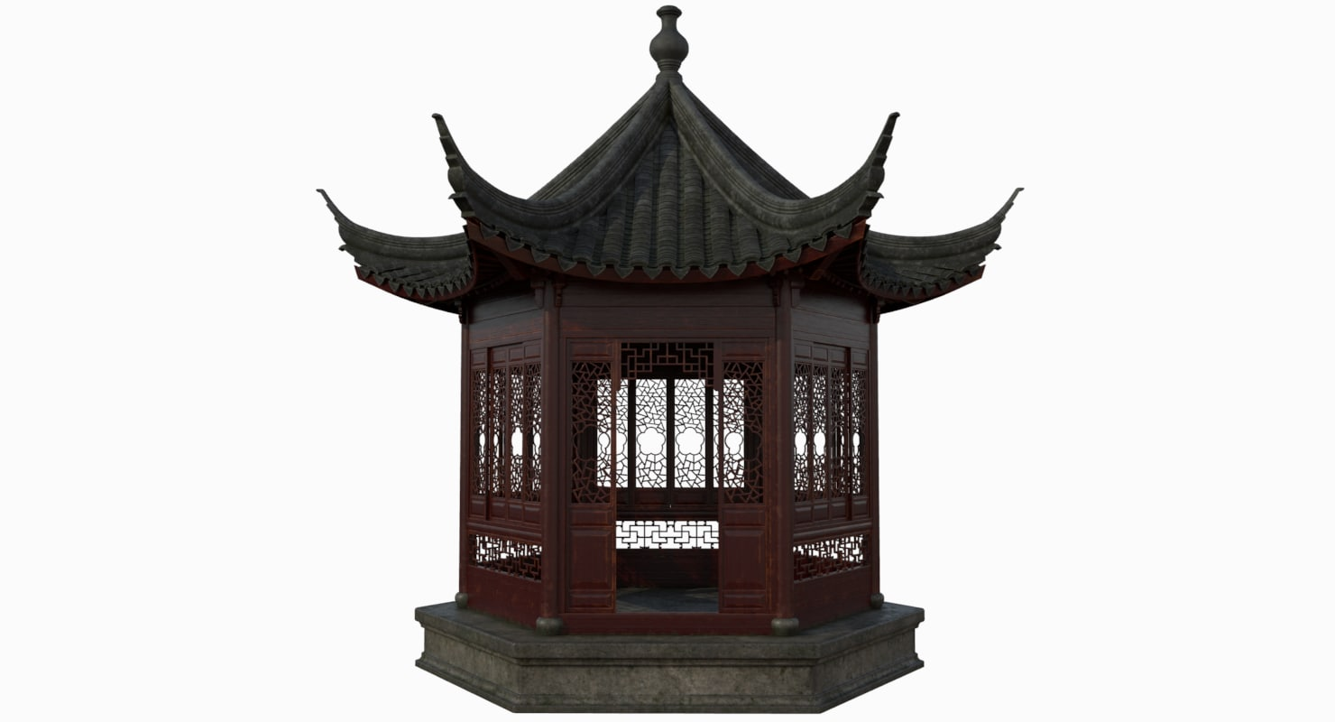 chinese hexagonal pavilion model