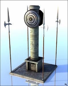 pillar medieval 3D model