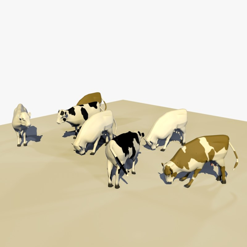 3D group cows eating grass