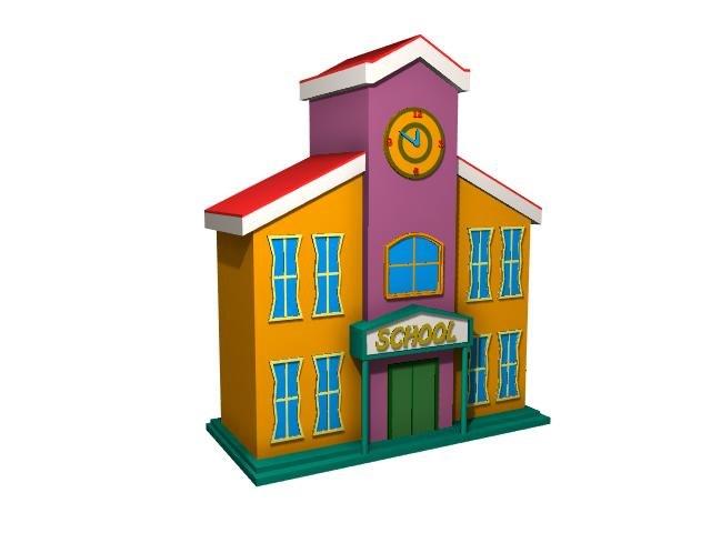 cute school building 3D model