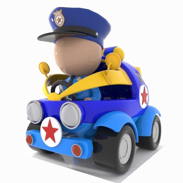 police car toon 3D