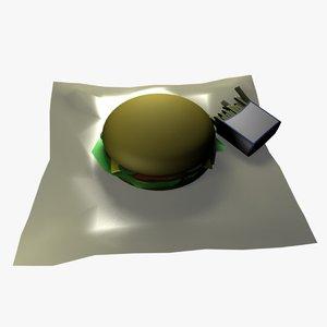 3D hamburger fries