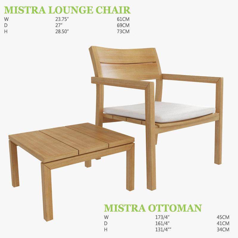 3D mistra lounge chair ottoman model