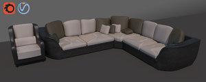 3D corner sofa set model