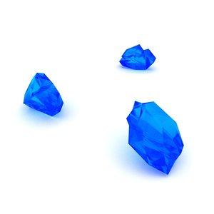 3D blue glass shards
