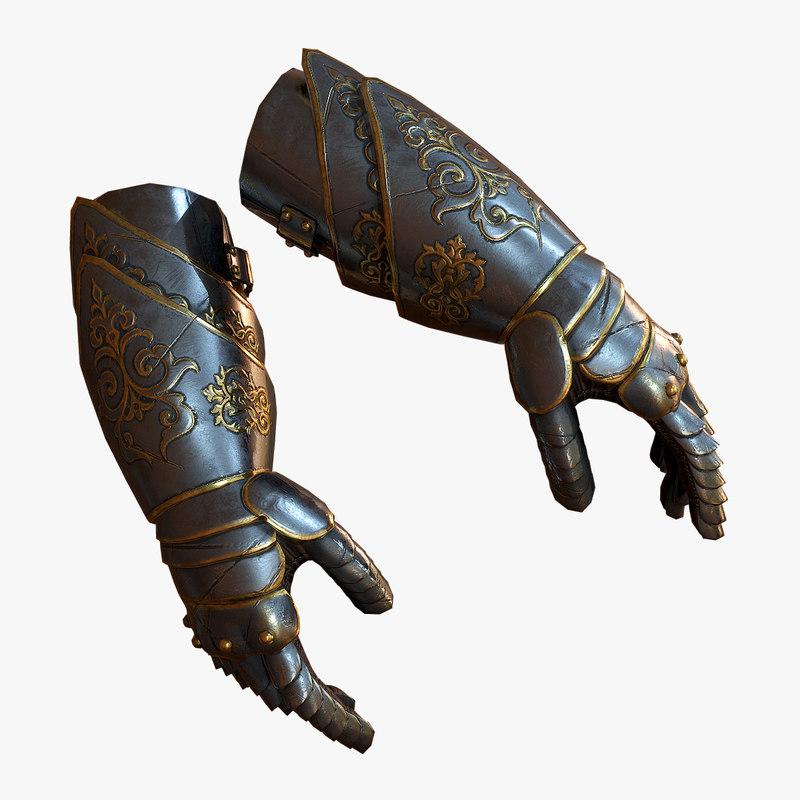 3D medieval armor gloves model