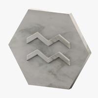 3D marble aquarius