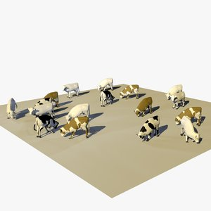 3D group cows animal 1