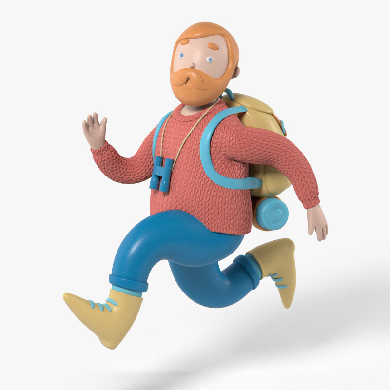 3D model rigged backpacker character human