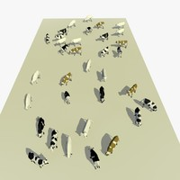 3D version cows animal
