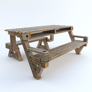 carved picnic table 3D