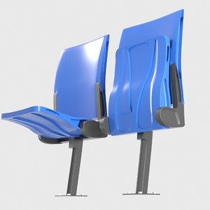 opened plastic seat 3D