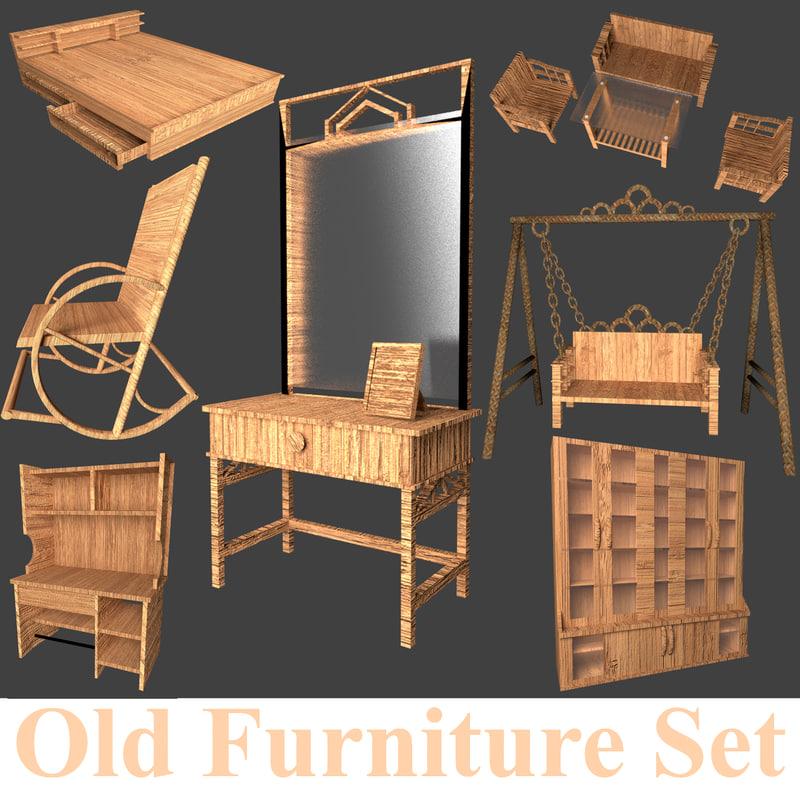 old furniture set 3D model
