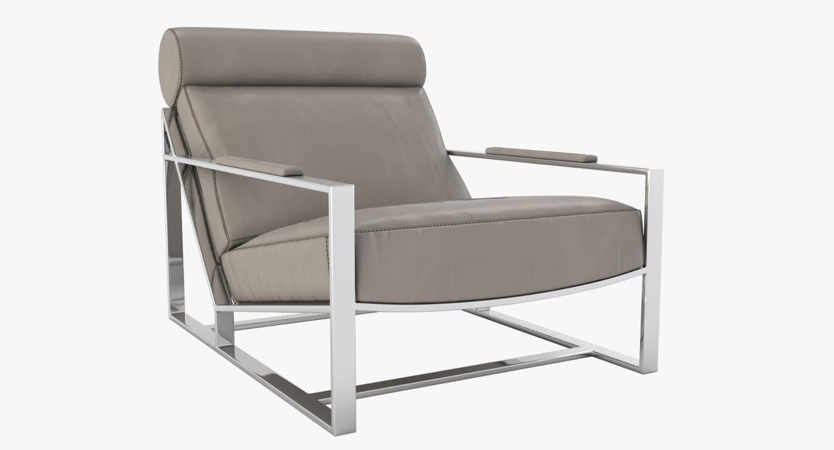 Milo Baughman Leather Chair 3d Model
