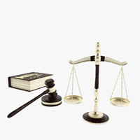 Legal scales, gavel, law book