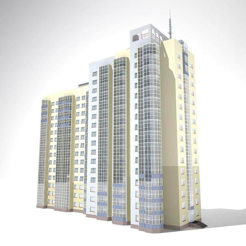 16 floor building 3D model